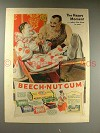 1937 Beech-Nut Gum Ad - Circus Clown, Strongman