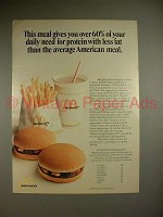 1973 McDonald's Hamburger & Fries Ad - 60% Daily Need