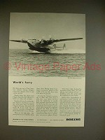 1943 WWII Boeing Clipper Plane Ad - World's Ferry