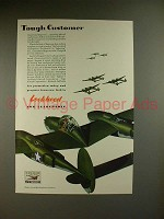 1942 WWII Lockheed P-38 Lightning Fighter Plane Ad - Tough Customer
