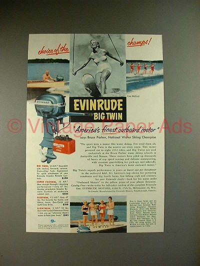 1953 Evinrude Big Twin Outboard Motor Ad, Evie Wolford