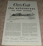 1929 Chris Craft 38 Foot Cruiser Ad - Aristocrat Water!