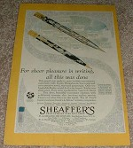 1929 Sheaffer's Lifetime Pencil Ad, Color!!