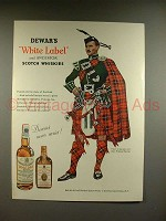 1956 Dewars White Label Scotch Ad, Clan Wallace Tartan