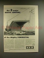 1956 IT&T Ad w/ U.S.S. Forrestal Aircraft Carrier