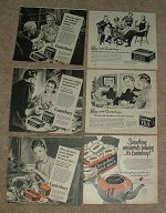 Large Lot of 25 Canterbury Tea Ads, 1945-1952 - NICE!!