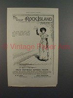 1890 The Great Rock Island Route Train Ad - Manitou