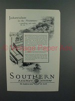 1926 Southern Railway System Ad - Industrialism