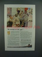 1944 WWII Pullman Train Car Ad w/ Soldiers & Jeep