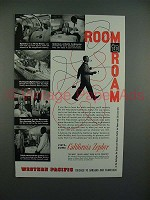 1956 Western Pacific California Zephyr Train Ad - Room to Roam