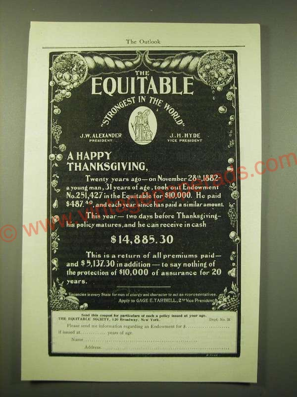 1902 Equitable Insurance Ad A Happy Thanksgiving