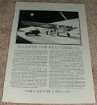 1929 Ford Airplane Mail Plane Ad - Stamped & Delivered!