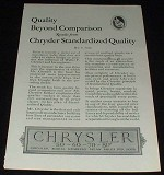 1926 Chrysler Ad, Quality Beyond Comparison!!