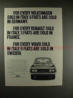 1971 Fiat Car Ad - For Every Volkswagen sold in Italy!!