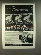 1959 Olympus Inter-Changeable Camera Ad - 3 in 1