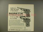 1963 Beretta Minx, Jefire Pistol Ad - Tip-Up Barrel