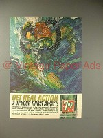 1964 Seven 7-Up Soda Ad - Diver - Get Real Action