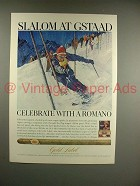 1966 Gold Label Romano Cigar Ad - Slalom at Gstaad