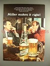 1969 Miller High Life Beer Ad - Miller Makes it Right!