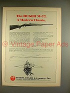 1969 Ruger M-77 Bolt Action Rifle Ad - A Modern Classic