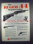 1971 Ruger .44 Magnum Carbine Rifle Ad - Its own Class!
