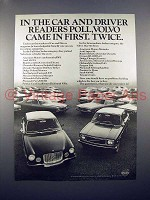 1971 Volvo Car Ad - Car & Driver Poll Came in First