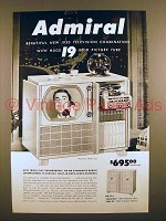 1950 Admiral Television Ad - Huge 19 Inch Picture Tube