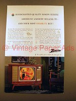 1963 Zenith Television Ad - Handcrafted Quality!