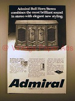 1969 Admiral Bull Horn Stereo Ad - Brilliant Sound!