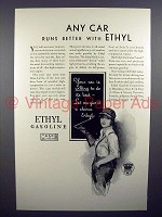 1929 Ethyl Gasoline Gas Ad - Any Car Runs Better