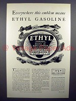 1930 Ethyl Gasoline Gas Ad - Everywhere this Emblem