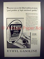 1930 Ethyl Gasoline Gas Ad - High Anti-Knock Quality