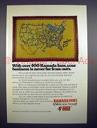 1973 Ramada Inns Motel Ad - Never Far From Ours