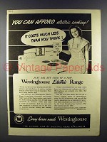 1941 Westinghouse Electric Range Ad - You Can Afford