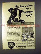 1943 Red Heart Dog Food Ad - Boston Terrier