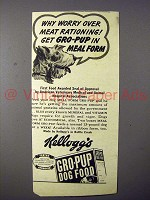 1943 Kellogg's Gro-Pup Dog Food Ad - Why Worry over Rationing