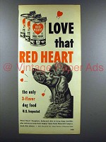 1950 Red Heart Dog Food Ad - Poodle!