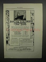 1923 U.S. Shipping Board Ad - Short Trip to Orient