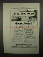 1923 U.S. Shipping Board Ad - Seattle to the Orient