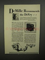 1928 DeVry Movie Camera Ad - Cecil B. DeMille