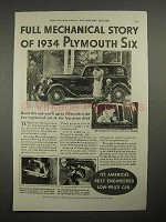 1934 Plymouth Six Car Ad - Mechanical Story