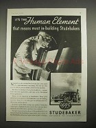 1935 Studebaker Car Ad - The Human Element!