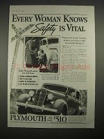1935 Plymouth Car Ad - Every Woman Knows Safety