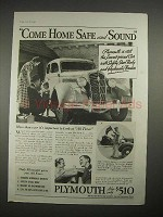 1935 Plymouth Car Ad - Come Home Safe and Sound