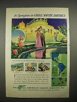 1940 Pan American Grace Airways Ad - Chile, S. America