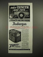 1940 Zenith Radiorgan Chairside Model 10-S-549 Ad