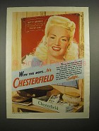 1944 Chesterfield Cigarettes Ad w/ Betty Grable