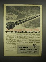 1944 WWII Republic Steel 105mm Howitzer Gun Ad