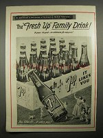 1949 7up Soda Ad - The Fresh Up Family Drink