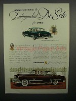 1953 DeSoto Fire Dome V8 Club Coupe, 4 Door Sedan Ad